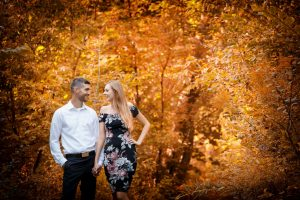Engagement Photo with Bride and Groom in the Forest